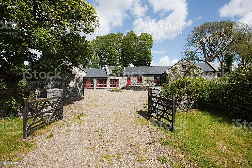 Exterior of rural Irish cottage stock photo