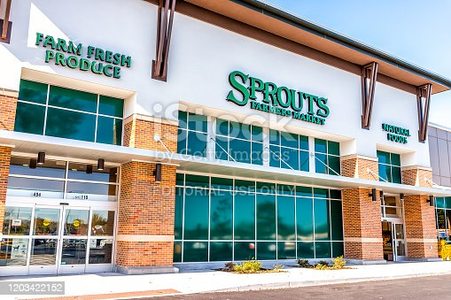 Herndon, USA - November 4, 2019: Exterior of Sprouts Farmers Market store with farm fresh produce sign on street in Virginia Fairfax County