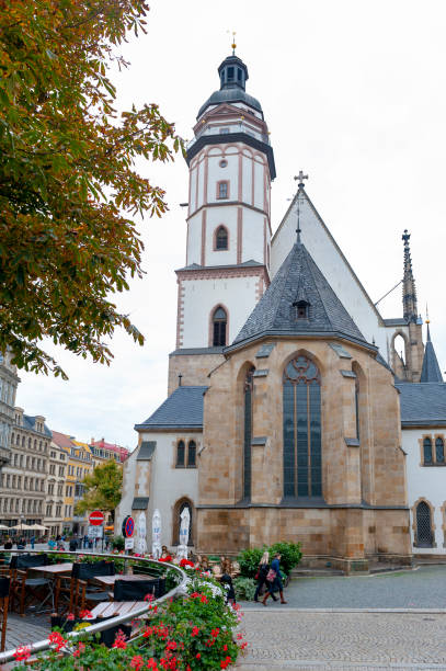 Exterior of St Thomas Church (Thomaskirche), a Lutheran church in Leipzig, Germany stock photo