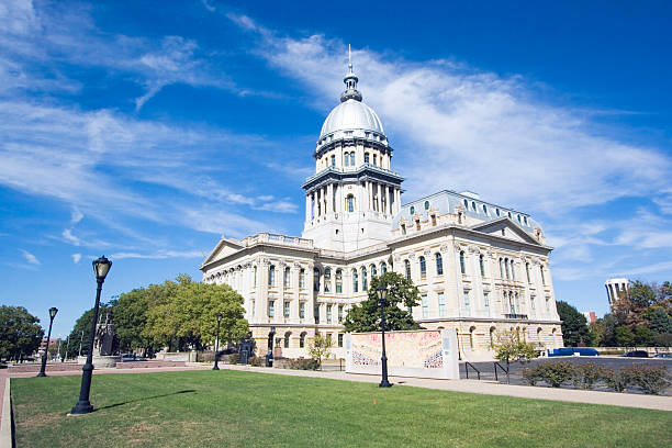 Exterior of State Capitol building at Springfield, Illinois stock photo