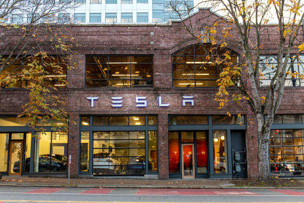 Exterior of Tesla Car Dealership in Seattle stock photo