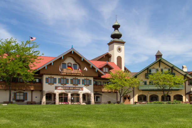 Exterior Of The Bavarian Inn Lodge In Downtown Frankenmuth stock photo