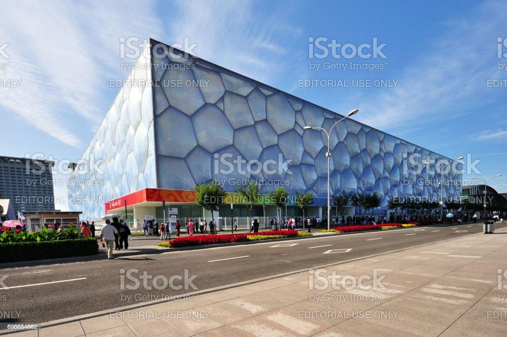 Exterior of The Beijing National Aquatics Center stock photo