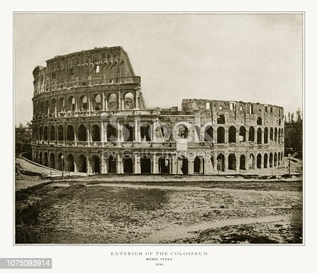 Antique Italian Photograph: Exterior of the Colosseum, Rome, Italy, 1893. Source: Original edition from my own archives. Copyright has expired on this artwork. Digitally restored.