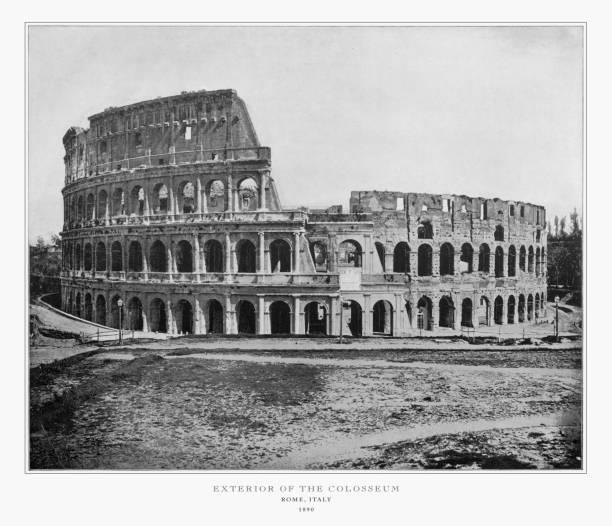 exterior of the colosseum, rome, italy, antique italian photograph, 1893 - colosseo 1900 foto e immagini stock