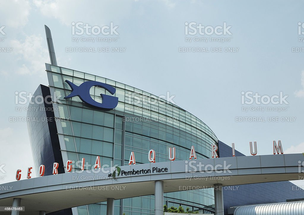 Exterior of the Georgia Aquarium Building in Atlanta stock photo