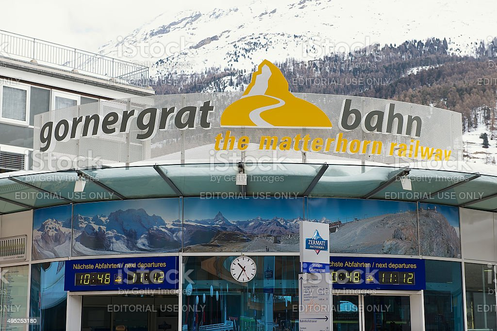 Exterior of the Gornergratbahn train station sign in Zermatt, Switzerland. stock photo