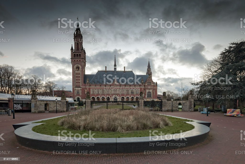 exterior of The Hague's Peace Palace stock photo
