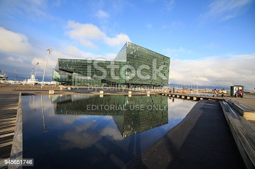 istock REYKJAVIK, ICELAND - FEBRUARY 13, 2017: Exterior of the Harpa Concert Hall 945651746