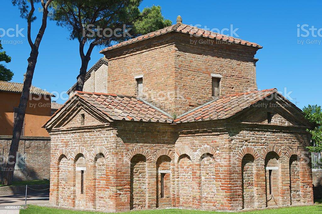 Exterior of the Mausoleum of Galla Placidia in Ravenna, Italy. stock photo