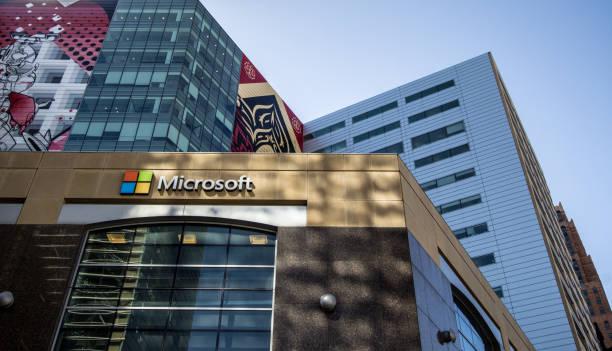 von microsoft in downtown detroit michigan außen - microsoft windows stock-fotos und bilder
