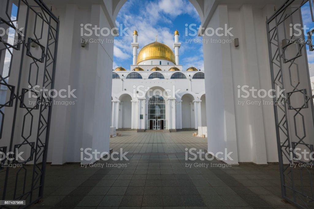 ASTANA, KAZAKHSTAN - SEPTEMBER 13, 2017: Exterior of the Nur Astana mosque in Astana, Kazakhstan. This mosque is the second largest in Kazakhstan. stock photo