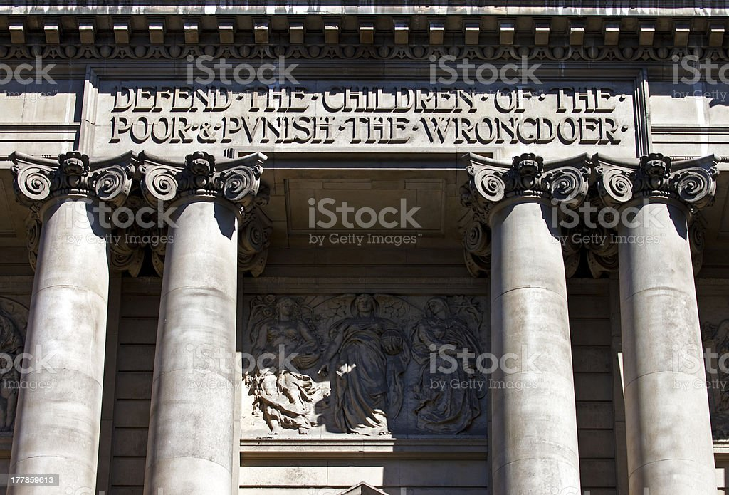 Exterior of the Old Bailey in London stock photo