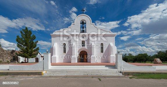 San Elizario, Texas, USA - August 11, 2017: Exterior of the San Elizario Chapel