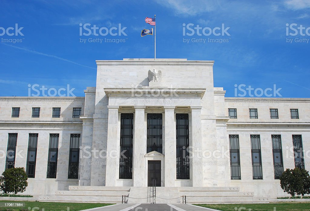 Exterior of the US Federal Reserve Building in Washington DC stock photo