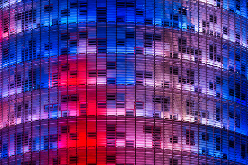 Exterior of Torre Agbar in Barcelona, Spain