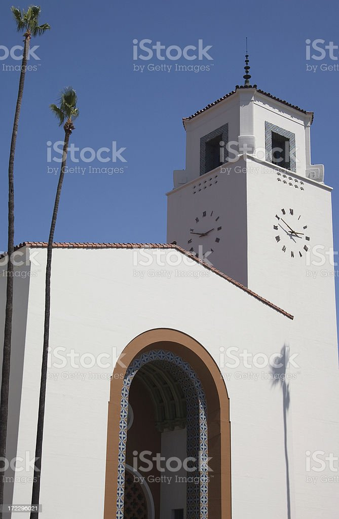 Exterior of Union Station in downtown Los Angeles royalty-free stock photo