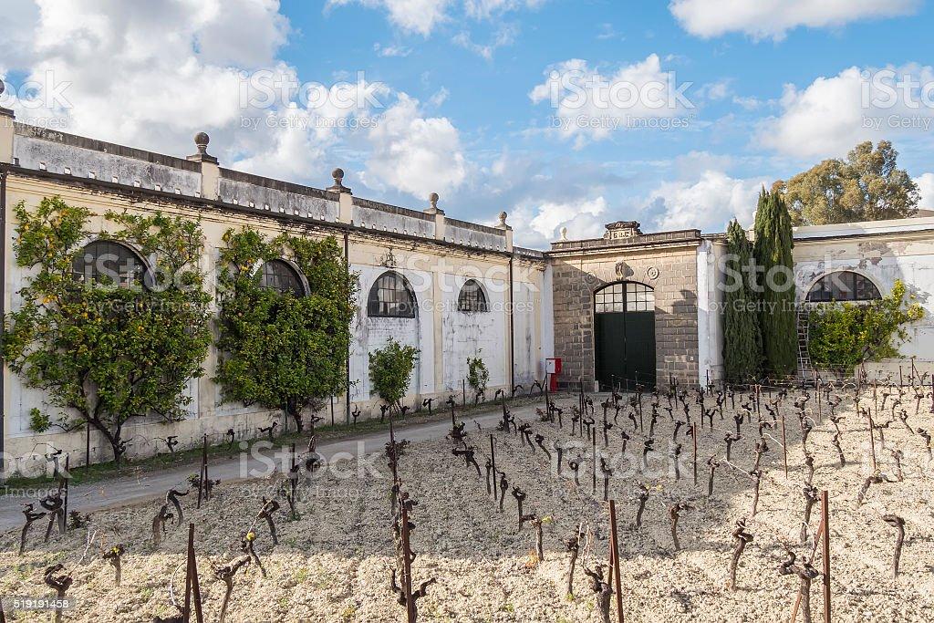 Exterior of  wine cellar in Jerez de la Frontera, Spain stock photo