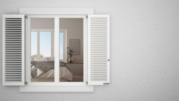 zewnętrzna ściana gipsowa z białym oknem z okiennicami, pokazująca wewnętrzną sypialnię, puste tło z przestrzenią do kopiowania, pomysł na koncepcję projektu architektury, szablon makiety - okno zdjęcia i obrazy z banku zdjęć