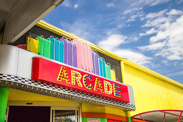Exterior Retro Arcade Sign In Pigeon Forge Tennessee Pigeon Forge, Tennessee, USA - March 26, 2016: Exterior sign of an arcade located on the parkway in Pigeon Forge, Tennessee. pigeon forge stock pictures, royalty-free photos & images