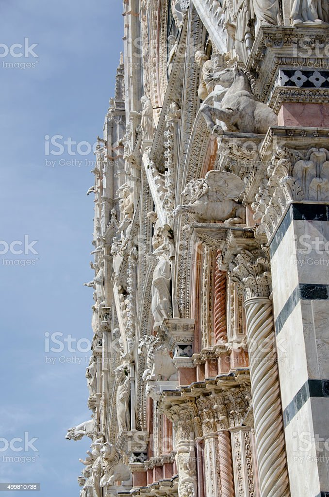 Exterior Sculptures on Siena Cathedral stock photo
