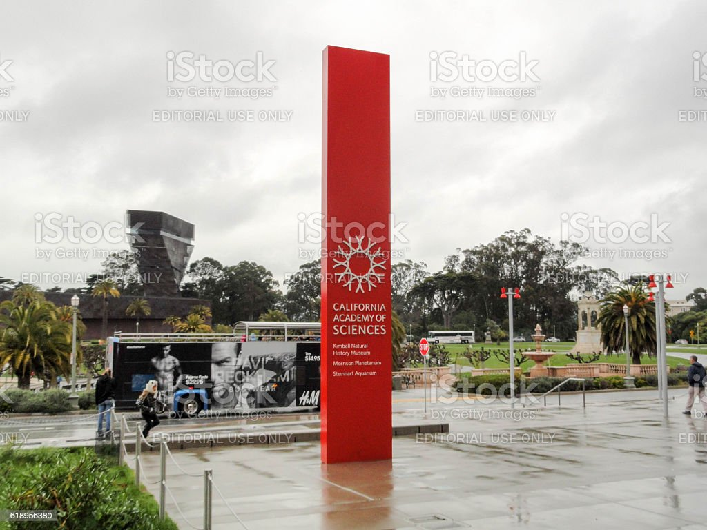 Exterior Sign of California Academy of Sciences stock photo