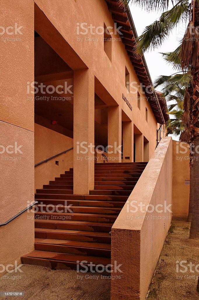 Exterior staircase leading to an arcade royalty-free stock photo