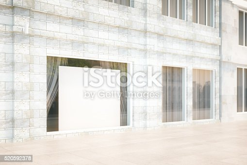 istock Exterior storefront with blank billboard, mock up, 3D Render 520592378