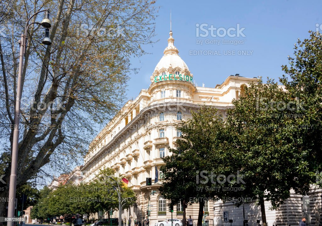 Exterior tower of the Grand Hotel Excelsior in Rome stock photo