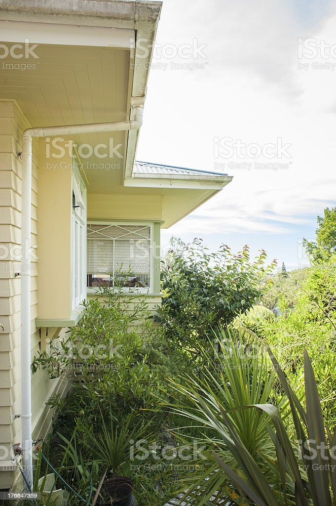 Exterior view of 1920s New Zealand bungalow royalty-free stock photo