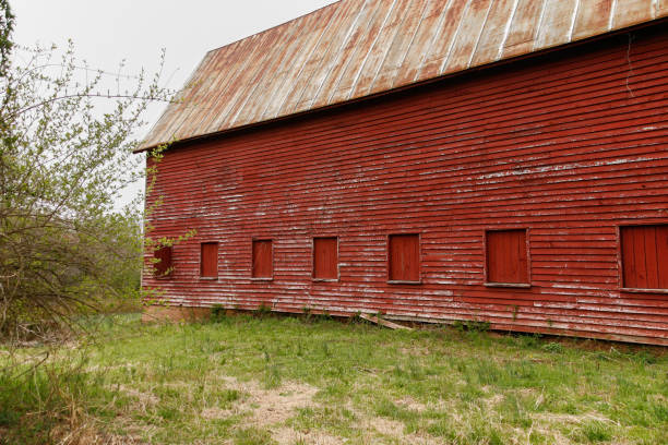 Exterior view of a late 19th Century wooden barn stock photo