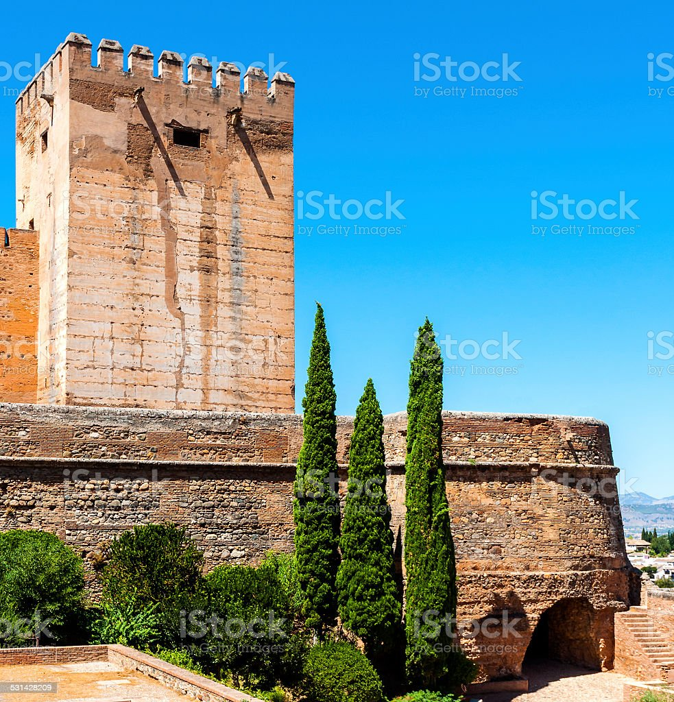 Exterior view of Alhambra, Spain stock photo