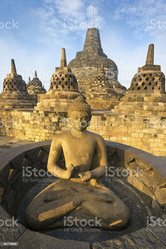 Exterior view of Borobudur Temple in Indonesia at sunrise royalty-free stock photo