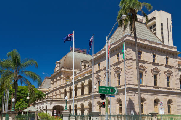 Exterior view of Brisbane under clear blue sky stock photo