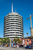 Los Angeles, California, United States of America - January 8, 2017. Exterior view of Capitol Records Tower in Los Angeles, with cars.