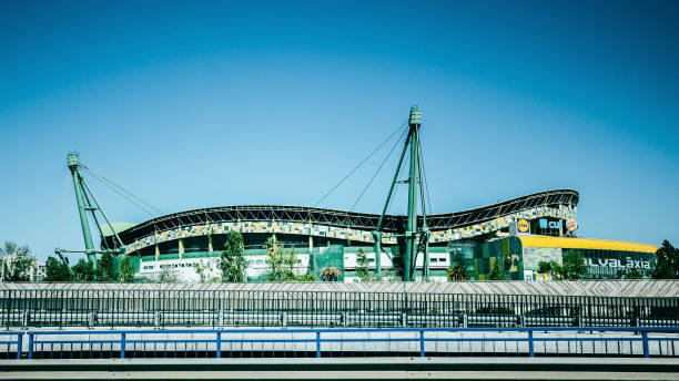 Exterior view of Estadio Jose Alvalade in Lisbon, Portugal where Sporting Lisbon plays home matches stock photo