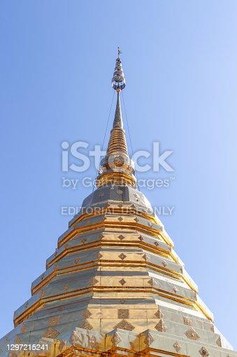 Chiang Mai, Thailand - December 9, 2020 : exterior view of golden pagoda at Wat Phra That Doi Suthep, Ratchaworawihan