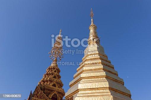 Phrae, Thailand - December 6, 2020 : exterior view of golden pagoda at Wat phrathatchohae