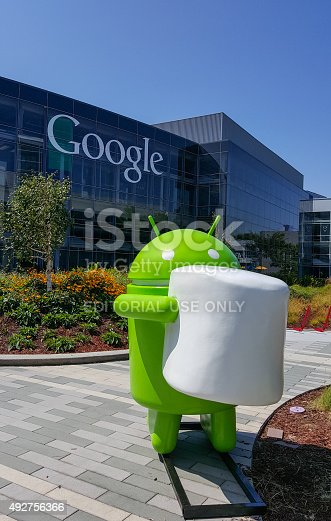istock Exterior view of Google office with Android Marshmallow 492756366
