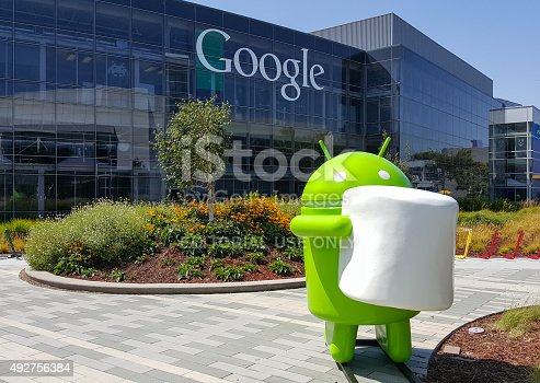 istock Exterior view of Google office with Android Marshmallow 492756384