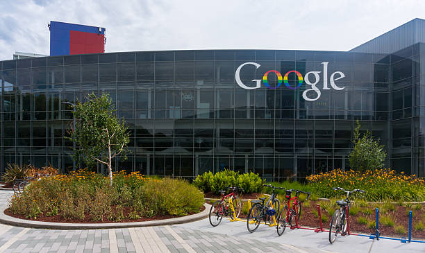 Exterior view of Google's Googleplex Corporate headquarters. stock photo