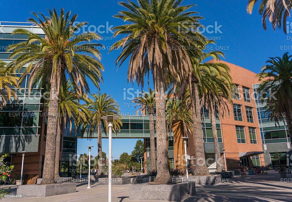 Exterior view of Google's Googleplex Corporate headquarters. stock photo