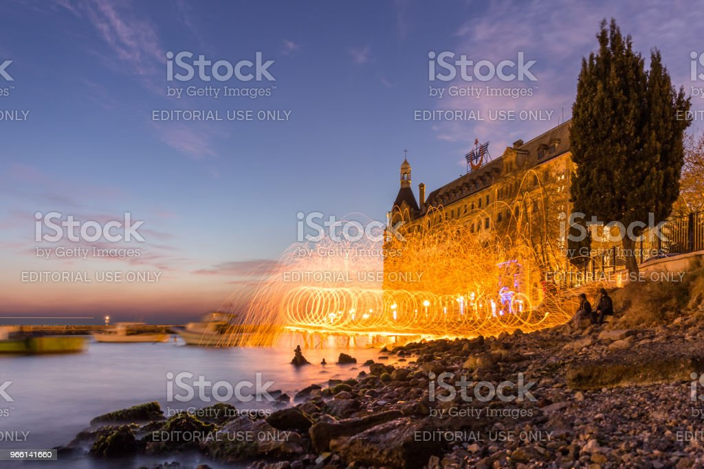 Exterior view of Haydarpasha railway station - Foto stock royalty-free di Acciaio