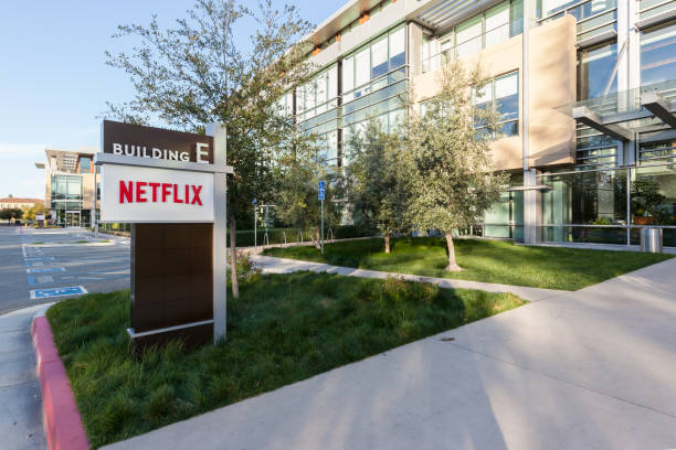 Exterior view of Netflix headquarters building Los Gatos, California, USA - March 29, 2018: Exterior view of Netflix headquarters office in Los Gatos, CA. Netflix is an American entertainment company. netflix stock pictures, royalty-free photos & images