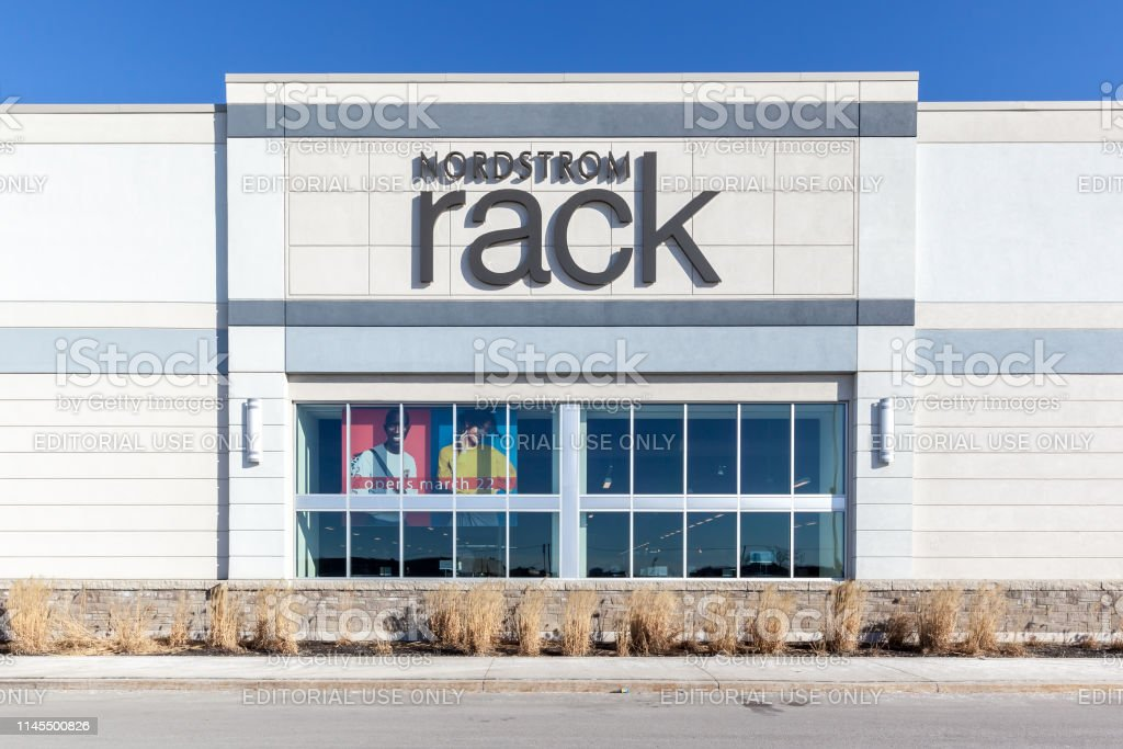 Exterior view of Nordstrom Rack sign at Vaughan Mills mall near Toronto. - Royalty-free Advertisement Stock Photo