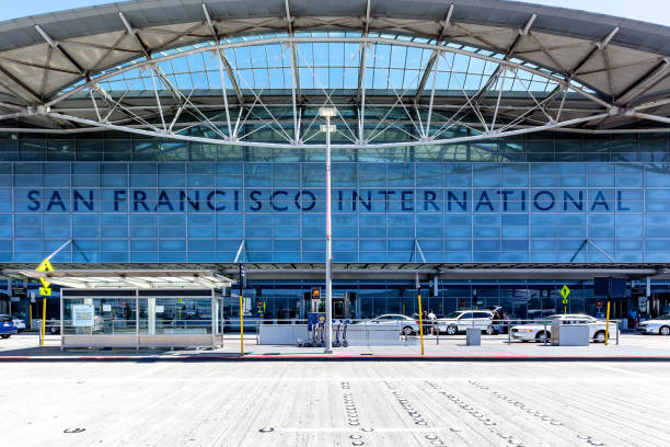 Exterior view of San Francisco International Airport. San Francisco, California, USA - April 02, 2018: Exterior view of San Francisco International Airport. SFO is one of the busiest airports in US. air transport building stock pictures, royalty-free photos & images