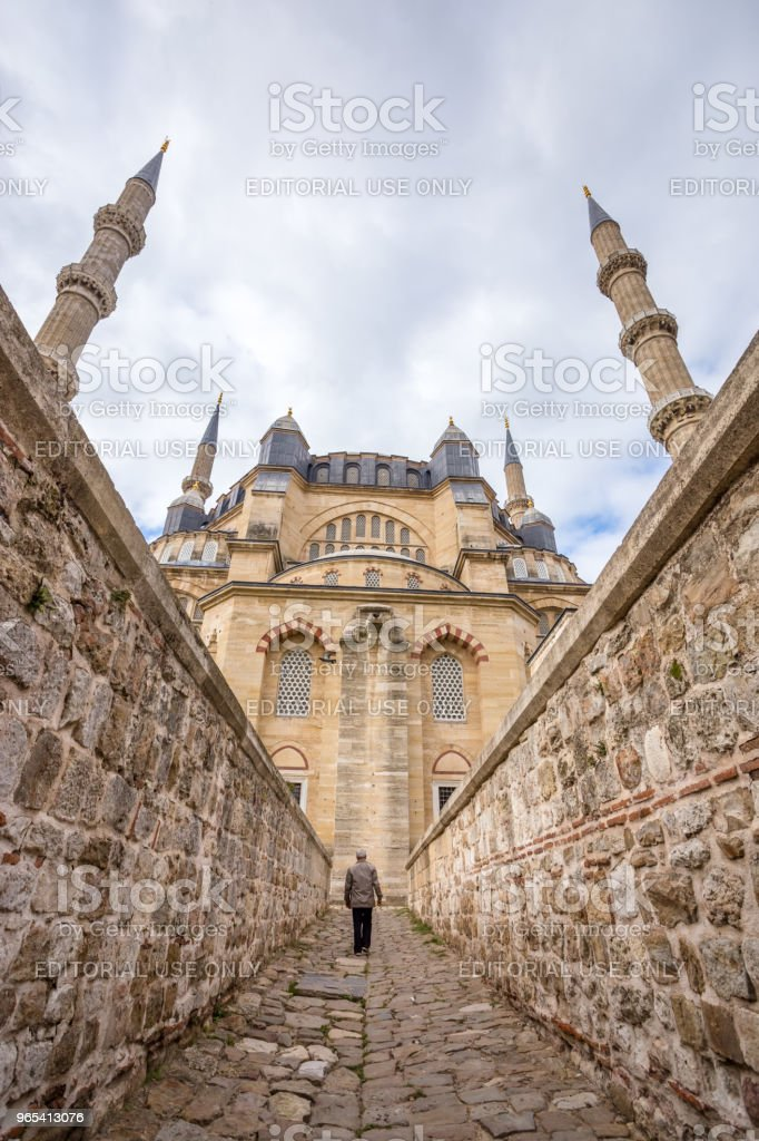Vista exterior da Mesquita Selimiye em Edirne, Turquia - Foto de stock de Adulto royalty-free