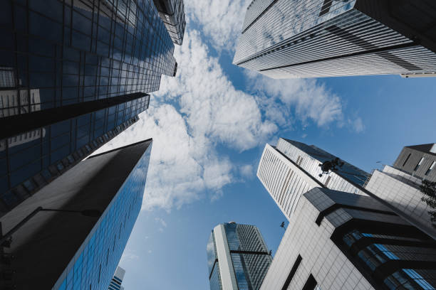 Exterior View of Skyscrapers, Hong Kong stock photo