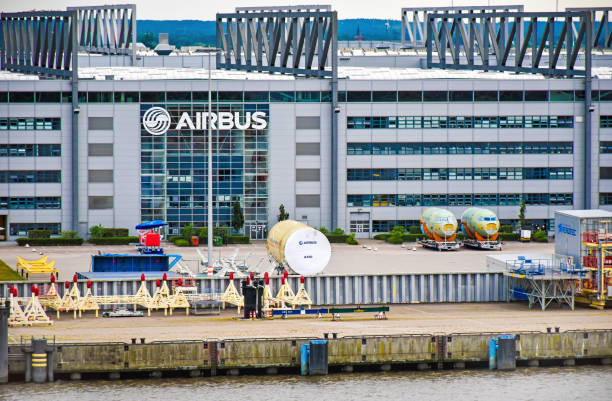 Exterior view of the Airbus factory in Hamburg-Finkenwerder (Germany) - foto stock