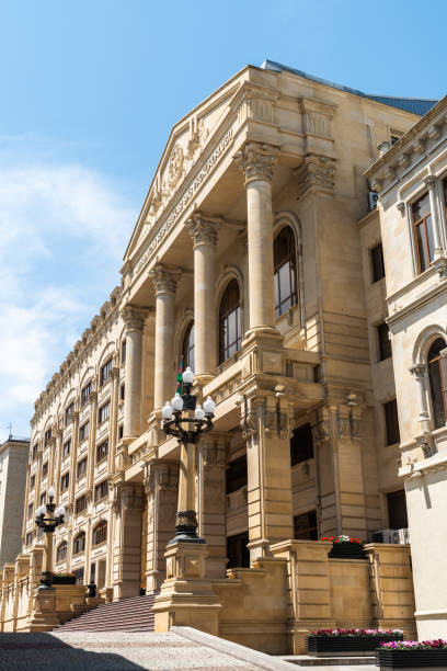 Exterior view of the building housing the General Prosecutor Administration of the Republic of Azerbaijan in Baku. Baku, Azerbaijan - May 9, 2019. Exterior view of the building housing the General Prosecutor Administration of the Republic of Azerbaijan in Baku. adversarial stock pictures, royalty-free photos & images
